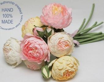 Wedding bouquet, bride bouquet, bridal bouquet, bridesmaids bouquet, paper flower bouquet, wedding flowers, wedding peonies, peonies bouquet