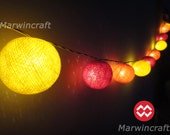 20 Big Cotton Balls Sunshine Color Tone Fairy String Lights Party Patio Wedding Floor Table or Hanging Gift Home Decor Christmas Bedroom