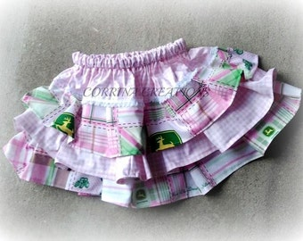 John Deere, Pink Gingham Boutique Style Ruffle  Skirt  Size NB, 3 6 12 24 months, sizes 2, 3,4,5, 6