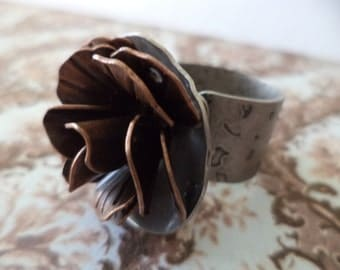 Large Rose Ring On Etsy Mixed Metal Rose Ring Large Rings Wearable Art Etsy Rings Metal Roses Rings