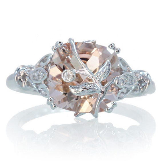 items similar to 14k white gold cushion cut morganite leaf and vine design unique custom handmade one of a kind engagement wedding anniversary bridal ring - One Of A Kind Wedding Rings