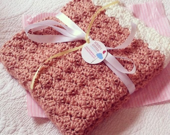 Pale Peach and Ivory Crochet Baby Blanket, crib size.