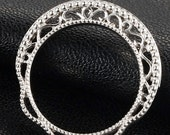 RESERVED for Meg - 70% OFF Diamond Wedding Ring or Anniversary Filigree Band, Solid White Gold. Vintage (Value 2,800 USD)