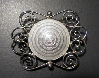 Vintage AKSEL HOLMSEN Sterling Silver and White GUILLOCHE Enamel Brooch