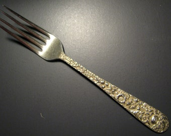 """KIRK STIEFF REPOUSSE Sterling Silver Dinner Fork -- 7.25"""" long, no monogram"""