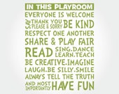 """Playroom Rules Wall Decal Sign Decor Sticker Nursery Toy Baby Childrens Kids Boy Girl Quote Art Decoration 36"""""""