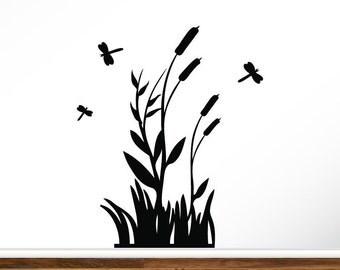 "Cattails Silhouette 36"" dragonflies cattails"