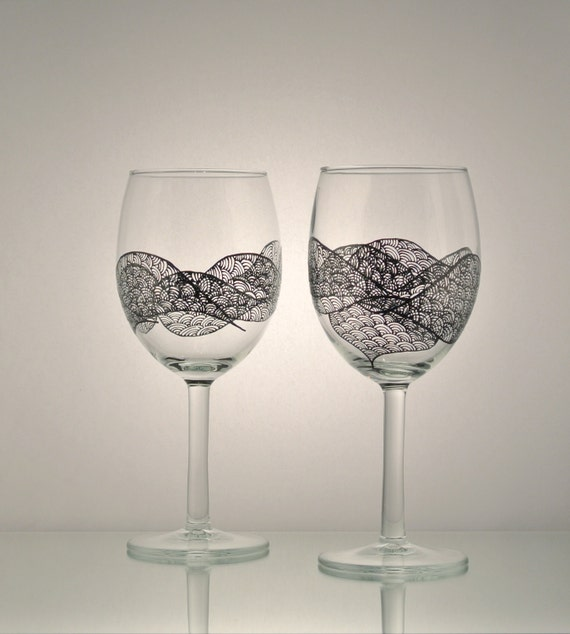 Set Of 2 Hand Painted Wine Glasses With A Unique Freehand