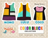 3 Mod Dress PDF Sewing Pattern from Color Block Collection by Popolok Design