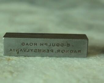 Vintage Engraving Block, Radnor, Pennsylvania
