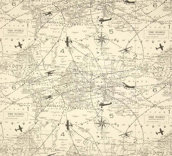 Map Air Traffic 2 yards Natural Fabric by BeeYourselfFabrics