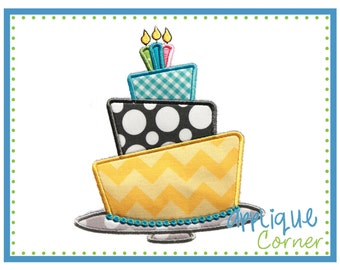Birthday Cake Tilted with Candles applique design in digital format for embroidery machine by Applique Corner