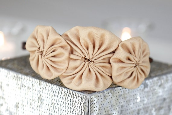 Adult Headband - Rosette Headband, Cream/Bone Shantung Silk Trio Rosette Headband For Women and Girls,701