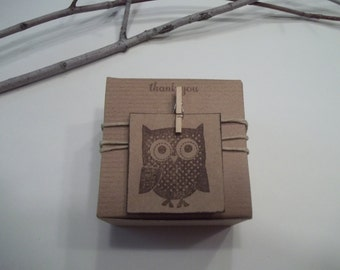 15 Owl baby shower favor boxes- Owl birthday party- Vintage Owl favor