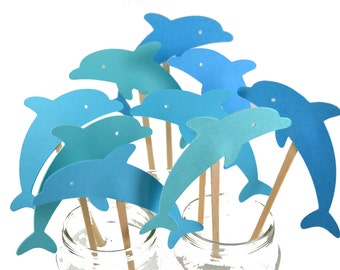 12 Blue Dolphin Cake Toppers / Dolphin Birthday Invitation / Dolphin Cake Topper / Blue Dolphin Baby Shower / Dolphin Party Supplies