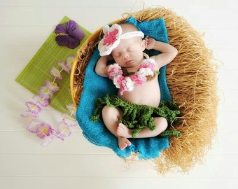 "Baby hula crochet set, headband, lei, coconut bra, ""grass skirt"", newborn picture prop, Hawaii, tropical vacation"