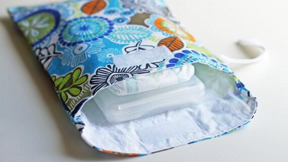 SALE Diaper & Wipes Wristlet / Diaper Pouch / Diaper Clutch - Enchanted Garden