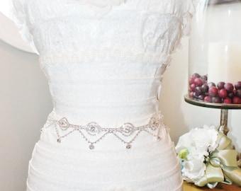 Silver Bridal Rhinestone Wedding Sash