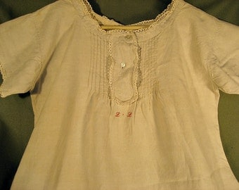 ON SALE Antique White Linen Handstitched Long Dress with Lace, Pintucks and Crosstitch