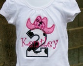 Ari's Angels Personalized Cowgirl Birthday  Shirt Embroidered, Appliqued, Monogrammed