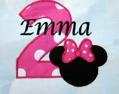 Ari's Angels Personalized Girls Birthday Minnie Pink Polka Dots Shirt Embroidered, Appliqued, Monogrammed