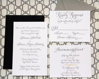 Classic Custom Wedding Invitation Suite - 100
