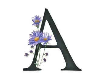 A is for Aster, Floral Alphabet 5x7 or 8x10 print