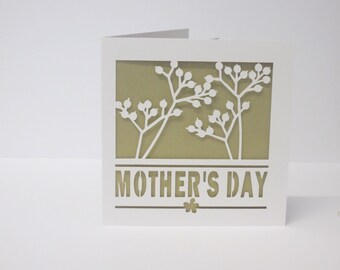 Floral mother's day papercut card