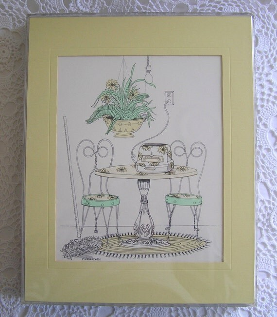 RESERVED for Helaine - SALE Kitchen Table Art Print by Marguerite Baldasaro, 1975, Pen & Ink, Pastel Colors