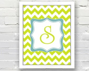 Chevron Pattern Monogram Print - Great for a Child's Bedroom, Personalized Wedding, Anniversary, Bridal Shower Gift Idea, Print or Canvas