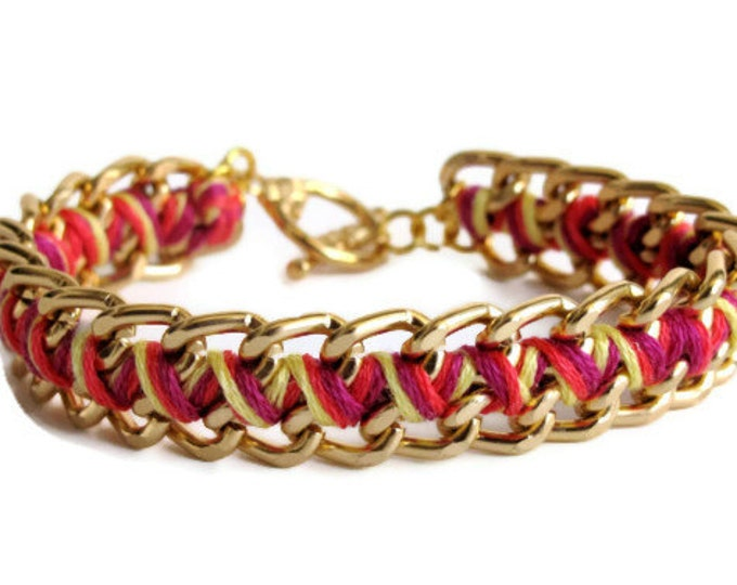 Sunset Orange Zig Zag Bracelet