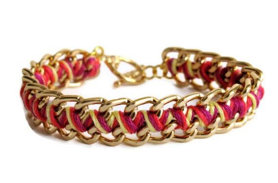 Sunset Orange Zig Zag Bracelet