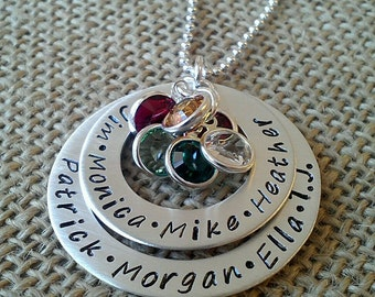 Mom 6 Name Necklace - Hand Stamped Mother Necklace - Family Necklace - Layered Sterling Washer Necklace Stamped Evermore