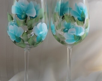 Hand Painted Wine Glasses (Set of 2) - Teal Roses