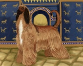 Title: The ancient afghan signed by artist print 13x19 dog breed print afghan hound plz Specify color