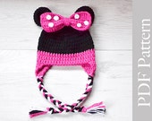 Minnie Mouse Hat, Crochet Baby Girl Hat, Minne Mouse Earflap Hat, PDF Pattern