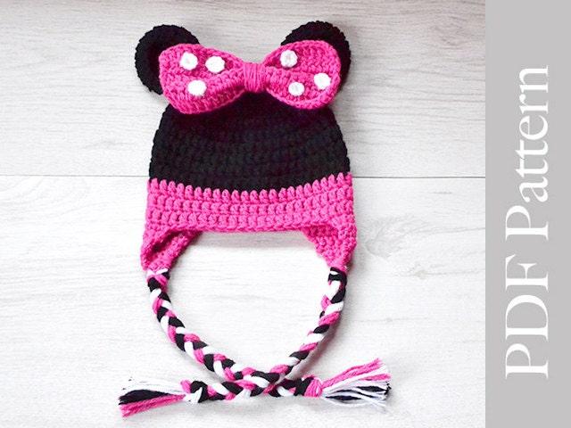 Snood Scarf Knitting Pattern : Minnie Mouse Hat Crochet Baby Girl Hat Minne by MyCrochetLand