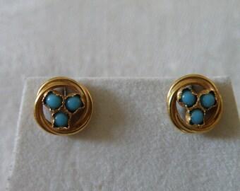 Artisan 14K Gold Turquoise Earrings