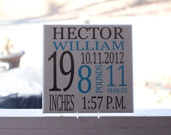 Personalized Baby Birth Announcement Nursery Sign, Baby Shower Gift, Christening