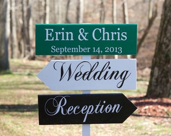 Personalized Wedding Directional signs, Wedding Arrow Sign for Ceremony, Reception, Photobooth and 3 Signs, STAKE INCLUDED