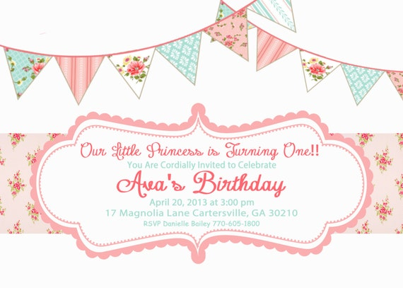Shabby Chic Birthday Invitations Gangcraftnet - Vintage girl birthday invitation