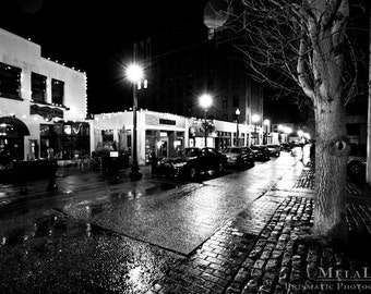 Romantic Asheville NC Urban Photography: Wall Street on a Rainy Night, Black and White Photo Print, Nostalgic Street Scene, Dreams Memories