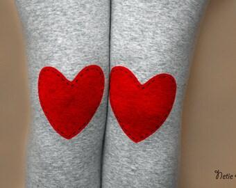 Red heart hand PAINTED leggings in grey