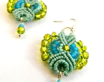 Mother Nature Green Light BlueMacrame Earrings