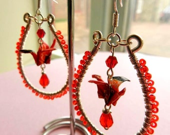 Lily: Red Origami Wire Wrapped Earrings Paper Crane Teardrop