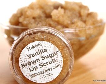 Vegan Vanilla Brown Sugar Lip Scrub Organic Sample Travel Size