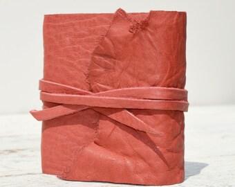 Leather Bound Handmade Cherry Red Mini Journal Pocket Diary Purse Notebook (211B)