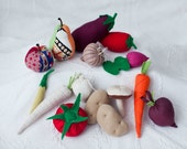 Play food fabric vegetables and fruits set of 15