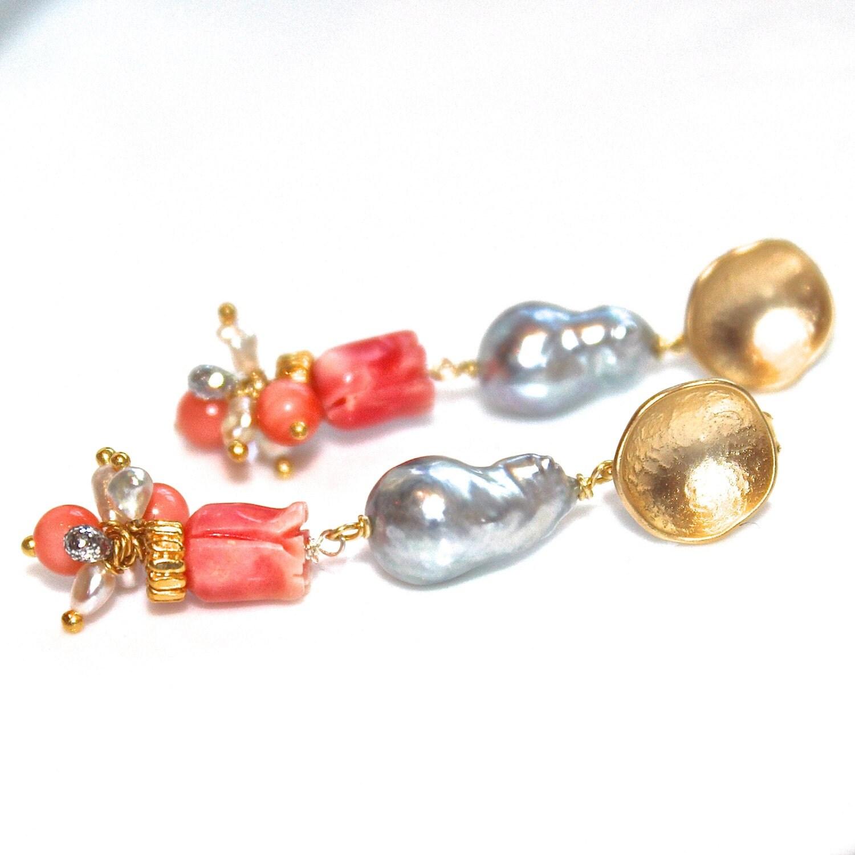 grey pearl earrings coral earrings carved coral flower