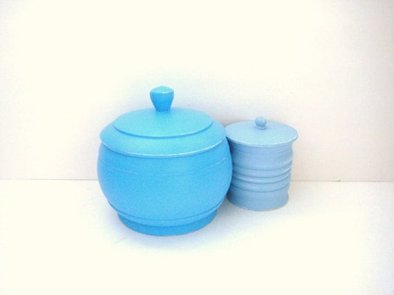 Pretty Blue Containers - Pair - Shabby Chic Home Decor - Organization